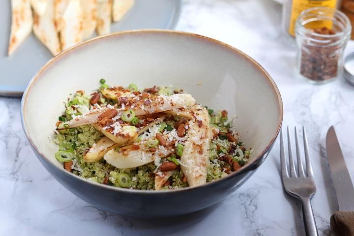 Nutty Quinoa Salad with Roasted Asparagus & Wild Garlic Pesto Dressing