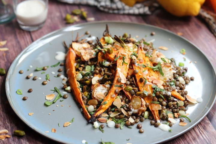 Warm Lentils, Roasted Carrots & Tahini Dressing Salad