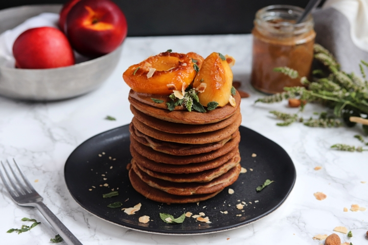 Dairy-Free Buckwheat Pancakes & Minty Maple Glazed Peaches