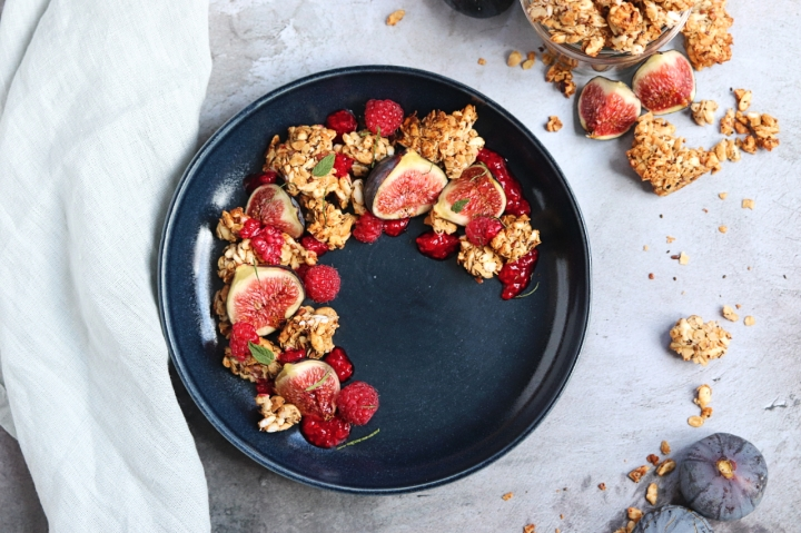 Chunkiest honey granola with raspberry and figs