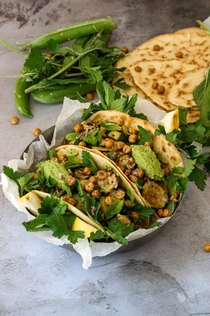 Zucchini Chickpea Tacos with Green Pea Mint Dip